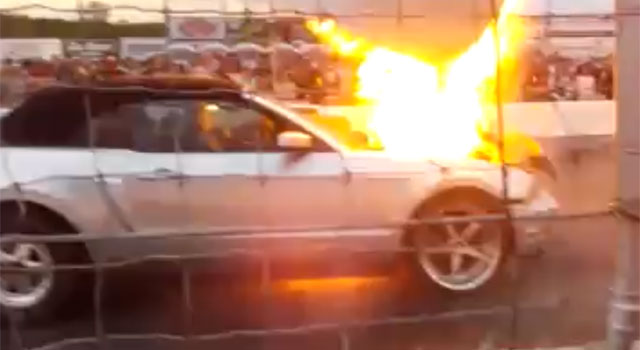 Mustang explodes at the starting line at Autodrome St-Eustache
