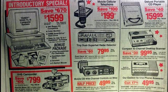 Tous ces articles annoncés par Radio Shack en 1991 se retrouvent dans un téléphone intelligent.