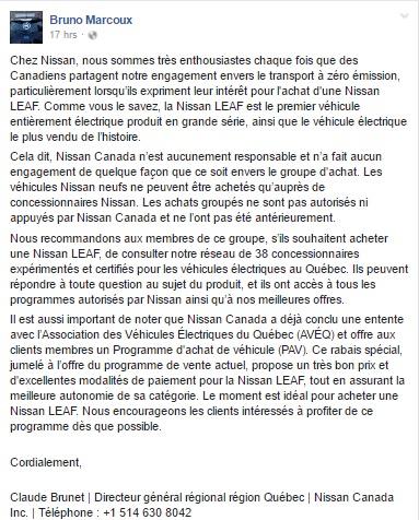 Achat groupé de Leaf: Nissan ferme la porte