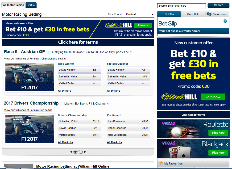 William Hill is the best place to get motor racing betting odds